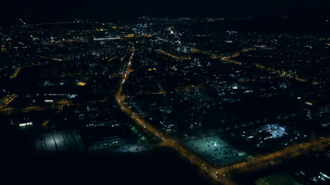 Aerial - City at night Footage