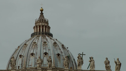 Italy Rome 006 St. Peter's Basilica dome and holy figures Footage