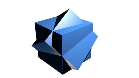Abstract blue geometric body, 3d body composed from cubes, rotating on white Animation