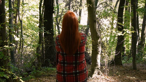 Girl walking alone at forest. Young girl wrapped in a plaid Footage