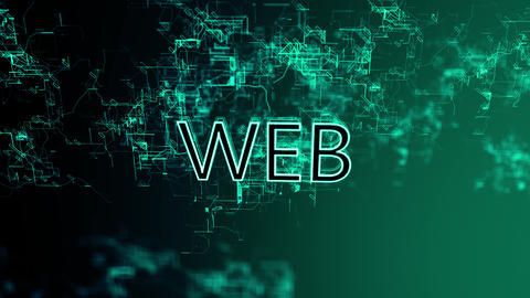 3D animation of the digital network. Text Web Footage