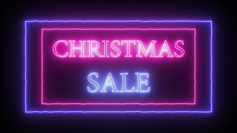 "Animation flashing neon advertising ""Christmas Sale"" Live Action"