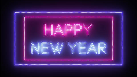 """Animation neon sign """"Happy New Year"""" Live Action"""