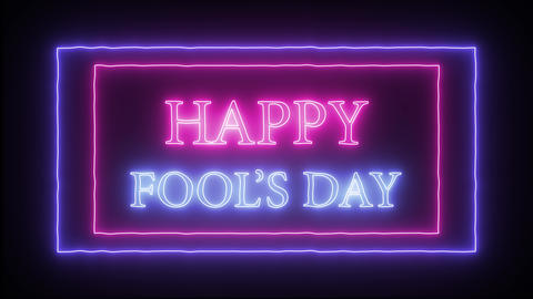 """Animation flashing neon sign """"Happy Fool's Day"""" Footage"""