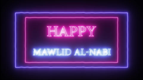 "Animation neon sign ""Happy Mawlid al-Nabi"" Footage"
