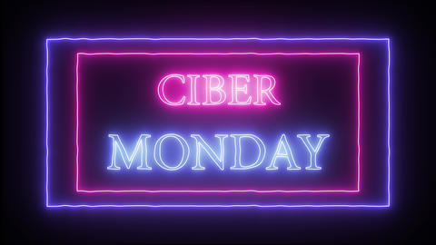 "Animation flashing neon advertising ""Ciber Monday"" Live Action"