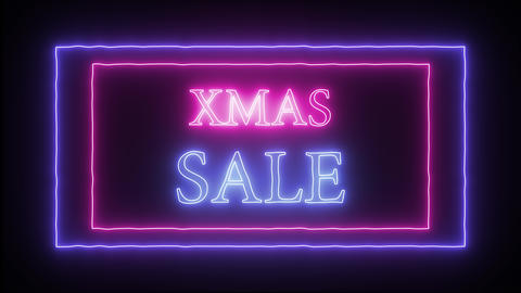 "Animation flashing neon advertising ""Xmas Sale"" Live Action"