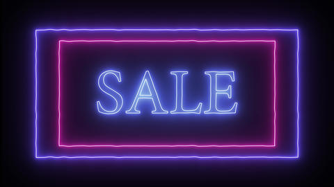 "Animation flashing neon advertising ""Sale"" Live Action"