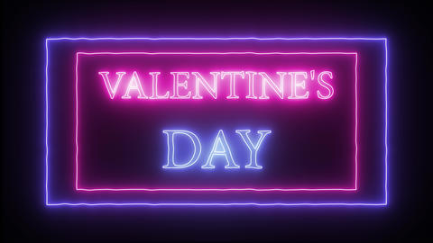 """Animation neon sign """"Valentine's Day"""" Live Action"""
