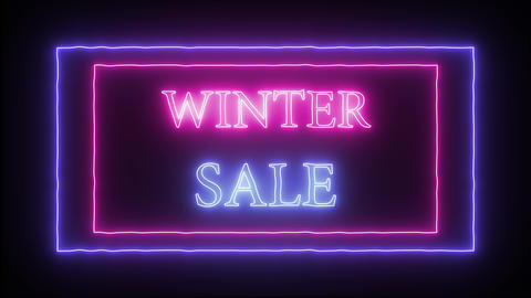 "Animation flashing neon advertising ""Winter Sale"" Live Action"
