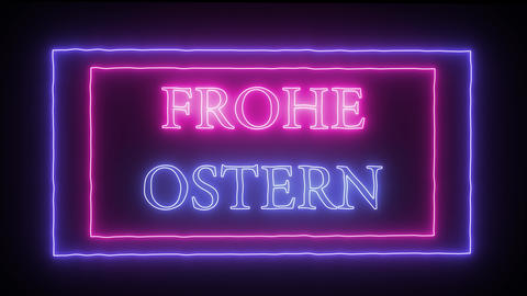 "Animation neon sign ""Frohe Ostern"", Happy Easter in german Stock Video Footage"