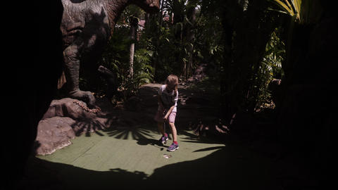 Playful Childhood. Little Girl Play Mini Golf Outdoor Stock Video Footage