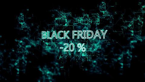 "3D digital network. Sign ""Black Friday -20 percent"" Footage"