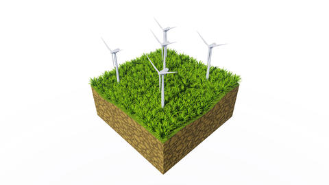 Wind turbines and green grass on white background Animación