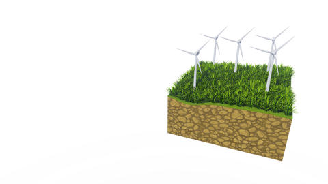 Wind turbines and green grass on white with copy space Animation
