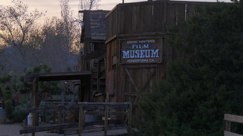 Film museum at historic Pioneertown in California in the evening - CALIFORNIA Live Action