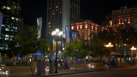 Horton Plaza Park at historic Gaslamp Quarter San Diego by night - CALIFORNIA Footage