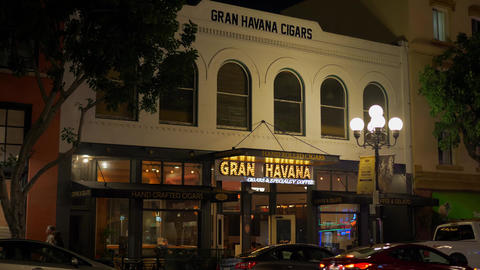 Gran Havana Cigars at historic Gaslamp Quarter San Diego by night - CALIFORNIA Footage