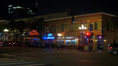 Nightlife at historic Gaslamp Quarter San Diego - CALIFORNIA, USA - MARCH 18 Footage