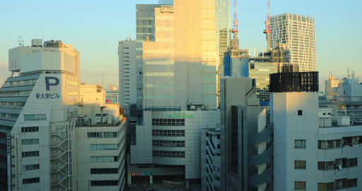 Cityscape at the office building in business district in Shibuya Tokyo high ビデオ