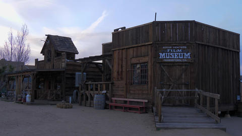 Film museum at historic Pioneertown in California in the evening - CALIFORNIA Footage