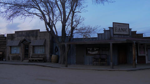 Historic wooden buildings at at Pioneertown in California in the evening - Footage
