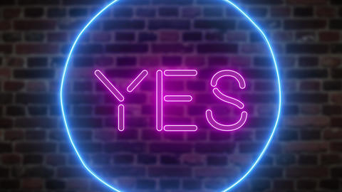Animation zoom flashing neon sign 'Yes' Live Action