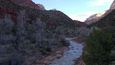 Scenic route through Zion National Park in Utah Live Action