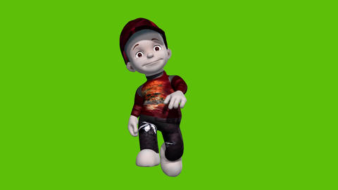 01 animated 3D cartoon boy walking and inviting with green background Animation
