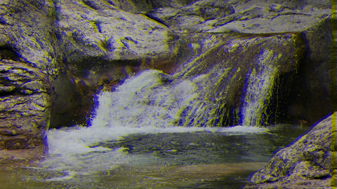 Glitch effect. Bath Youth, water the Grand Canyon of Crimea Live Action