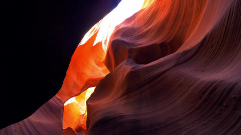 Curved sandstone formations at Antelope Canyon Footage