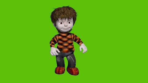 02 animated cartoon boy with green sceen background Animation