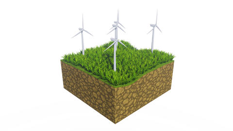 Wind turbines and green grass with copy space 3D Animation
