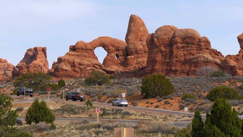 Poplular landmark in Utah - The Arches National Park - UTAH, USA - MARCH 20 Live Action