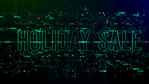 Animation of digital space with 'Holiday Sale' text Footage