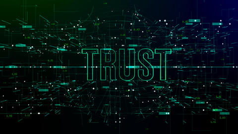 Animation of digital space with 'Trust' text Footage