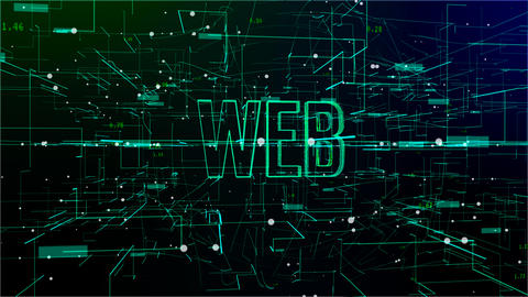 Animation of digital space with 'Web' text Footage