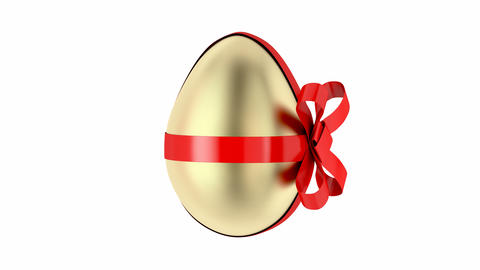 Gold egg with red ribbon GIF