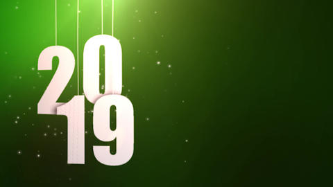 Happy New Year 2019 white paper numbers hanging on strings falling down green Animation