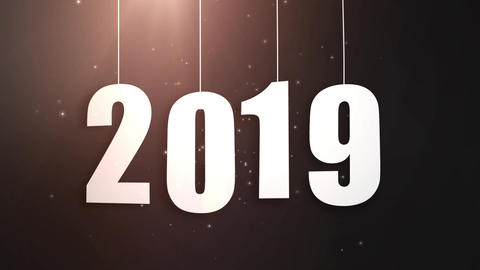 Happy New Year 2019 white paper numbers hanging on strings falling down black Animation