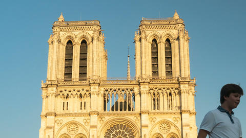 Notre-Dame de Paris, France (Our Lady of Paris) Cathedral, timelapse Live Action