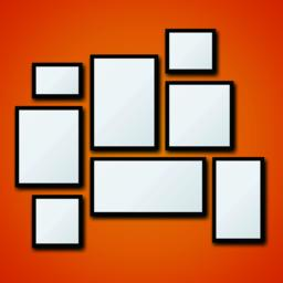 Vector blank picture frame set on orange wall Vector