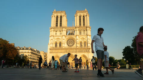Notre-Dame de Paris, France Our Lady of Paris Cathedral, timelapse Live Action