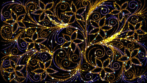 Pattern Golden Flowers Loop Animación