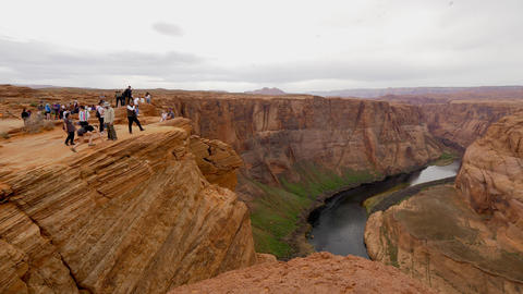 Horseshoe Bend in Arizona is a popular landmark - PAGE, USA - MARCH 29, 2019 Live Action