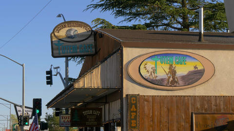 Indian Trading Post at the Totem Cafe in the historic village of Lone Pine - Footage