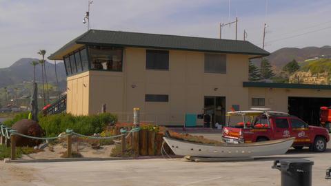 Malibu Lifeguards Headquarter at Zuma Beach - MALIBU, USA - MARCH 29, 2019 Footage