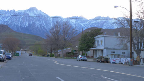 Typical street view in the historic village of Lone Pine - LONE PINE CA, USA - Live Action