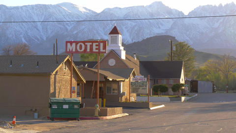 Motel in the historic village of Lone Pine - LONE PINE CA, USA - MARCH 29, 2019 Footage