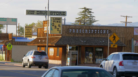 Drug store in the historic village of Lone Pine - LONE PINE CA, USA - MARCH 29 Footage